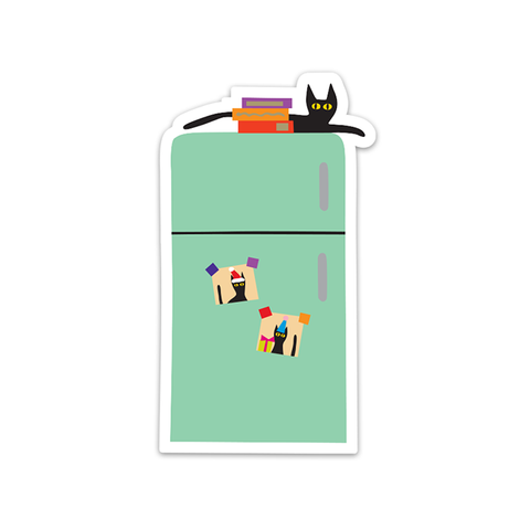 Cat on Fridge Sticker