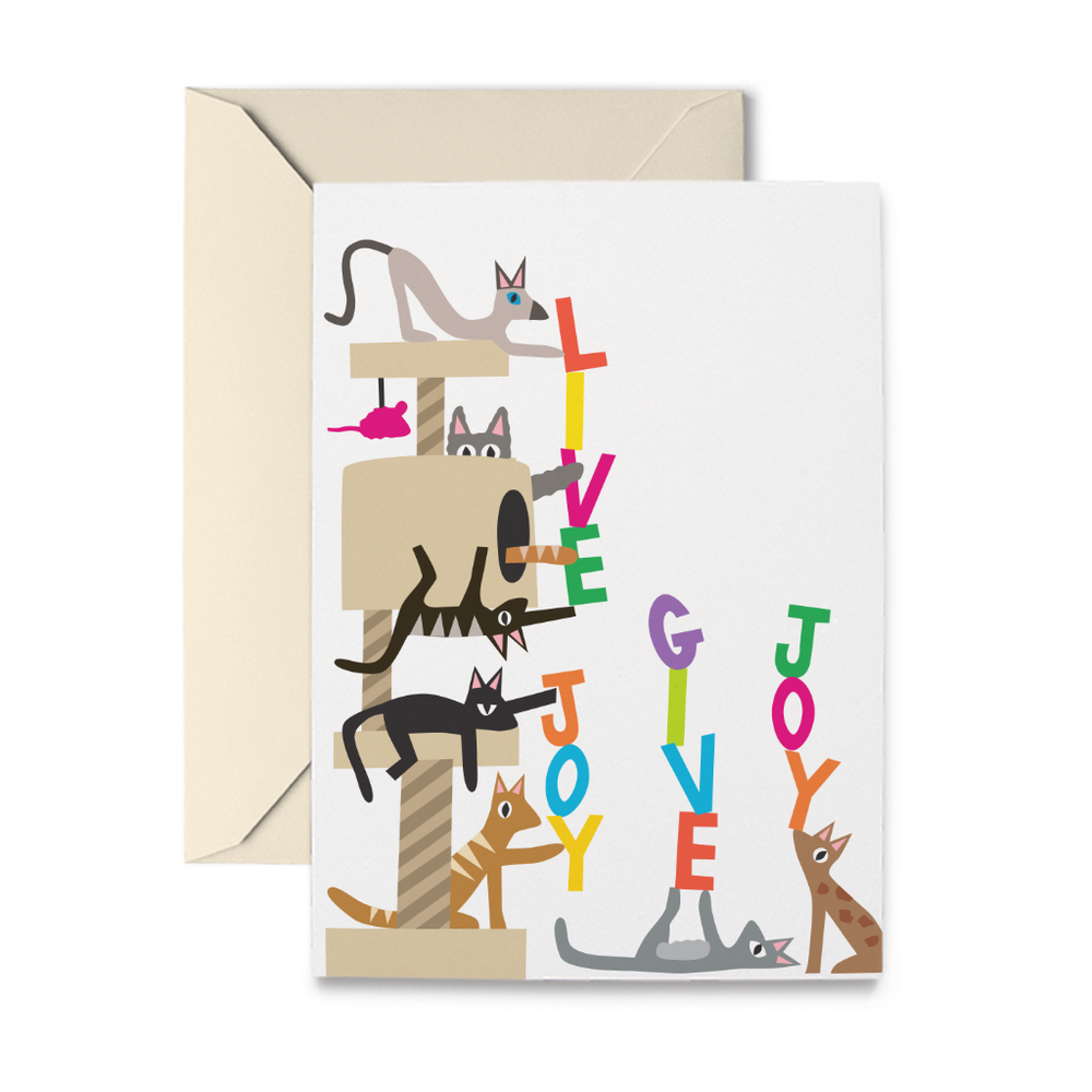 Cat Tree Live Joy Give Joy Note Cards