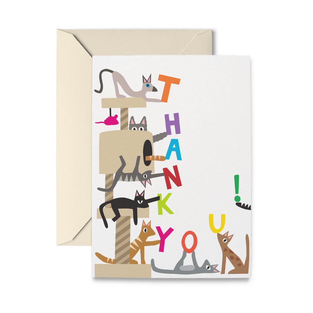 Cat Tree Thank You Greeting Card