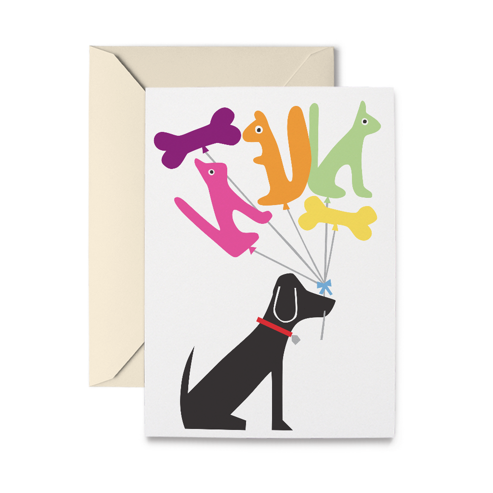 Dog & Balloons Greeting Card