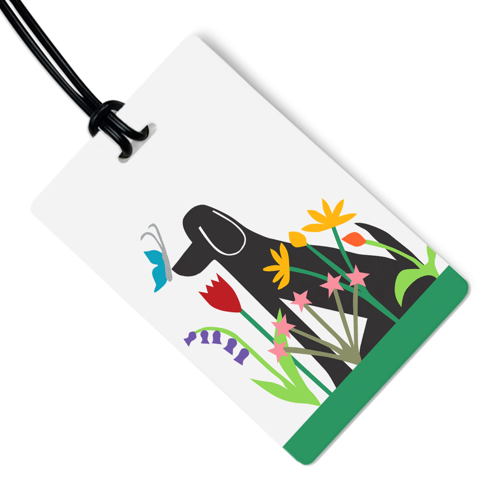 Dog in Garden Luggage Tag