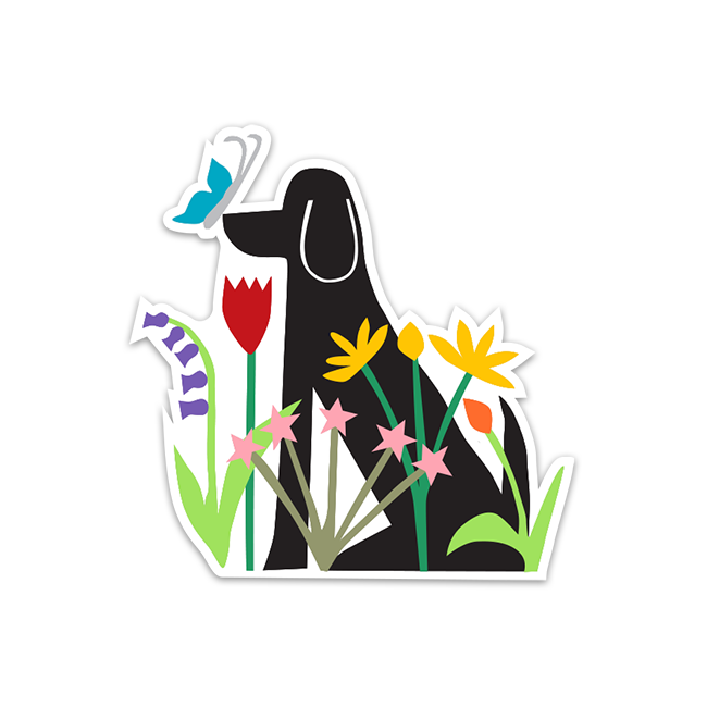 Dog in Garden Sticker