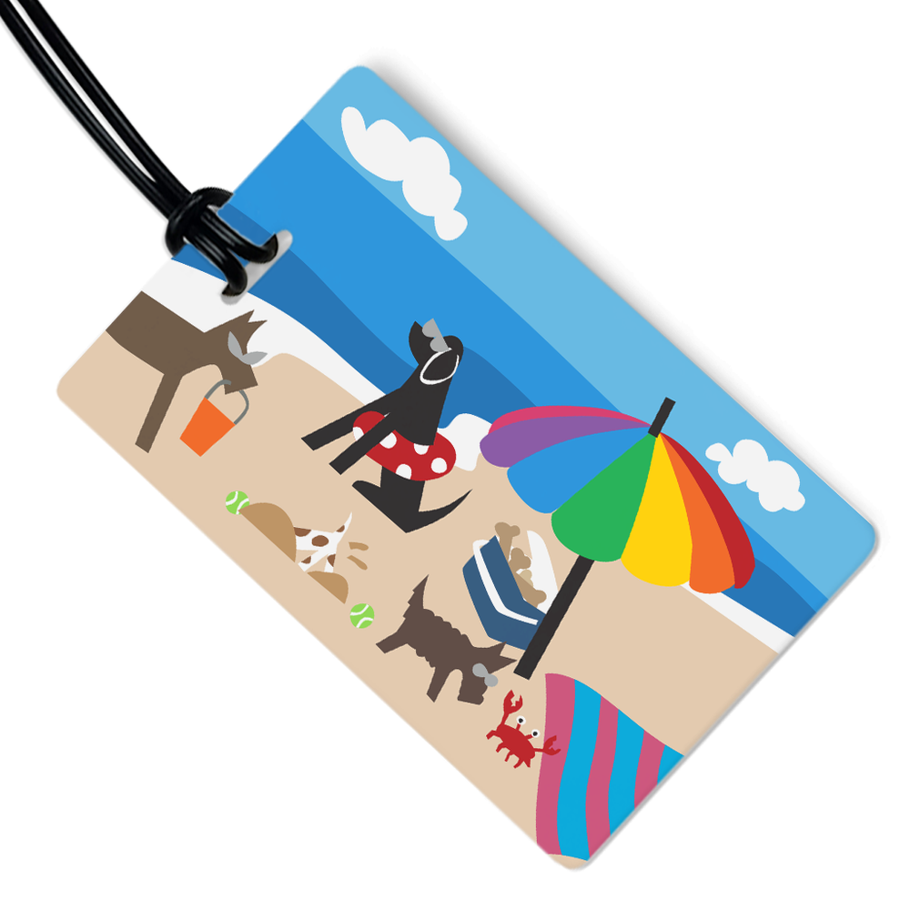 Doggie Beach Bums Luggage Tag