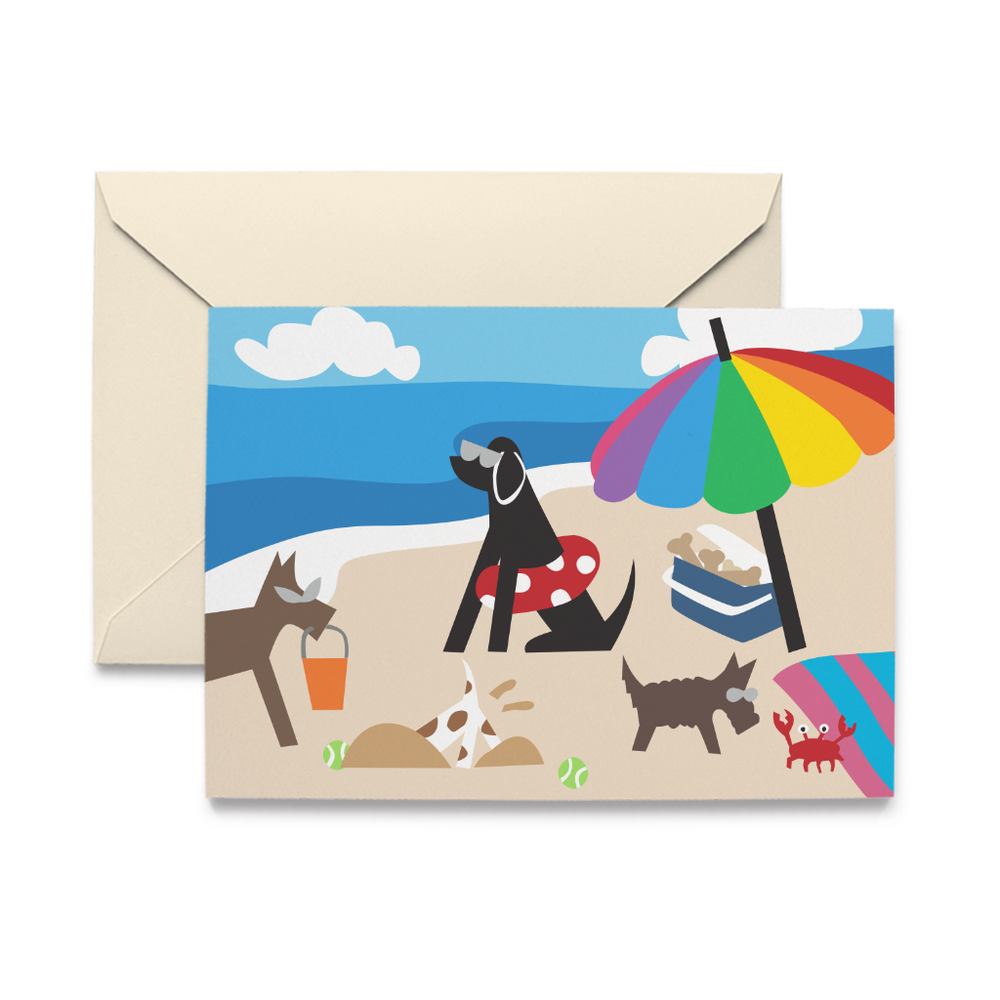Doggie Beach Day Note Cards