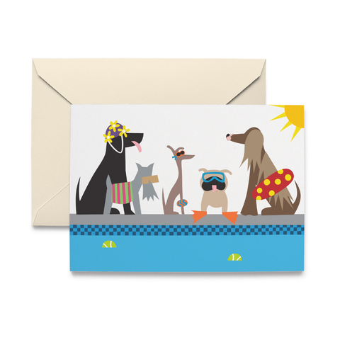Doggie Swim Party Note Cards