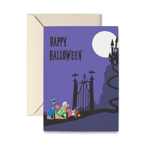 Doggie Trick or Treaters Greeting Card