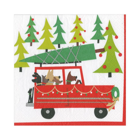 Holiday Doggy Tree Adventure Luncheon Napkin