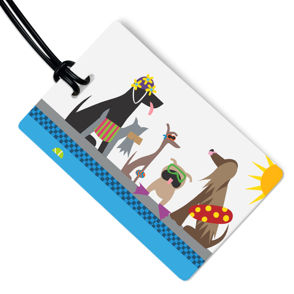 Doggie Swim Party Luggage Tag