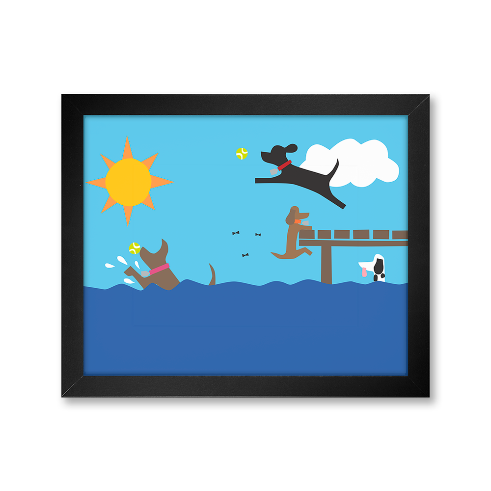 Dogs in Lake Mini Print