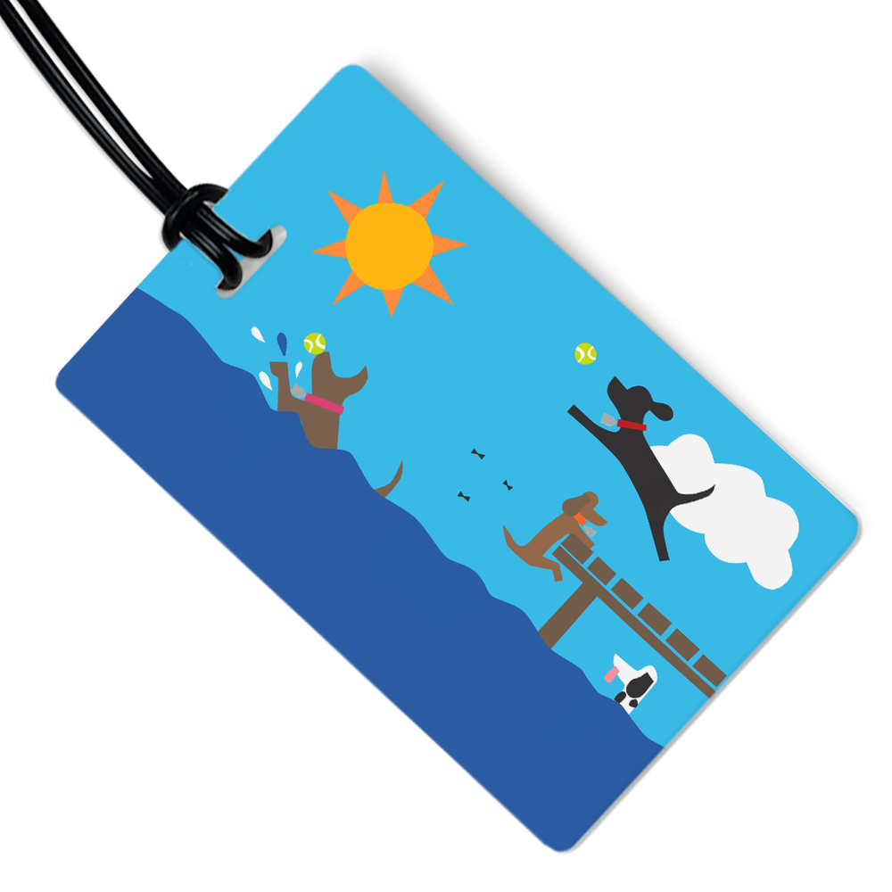 Dogs in Lake Luggage Tag