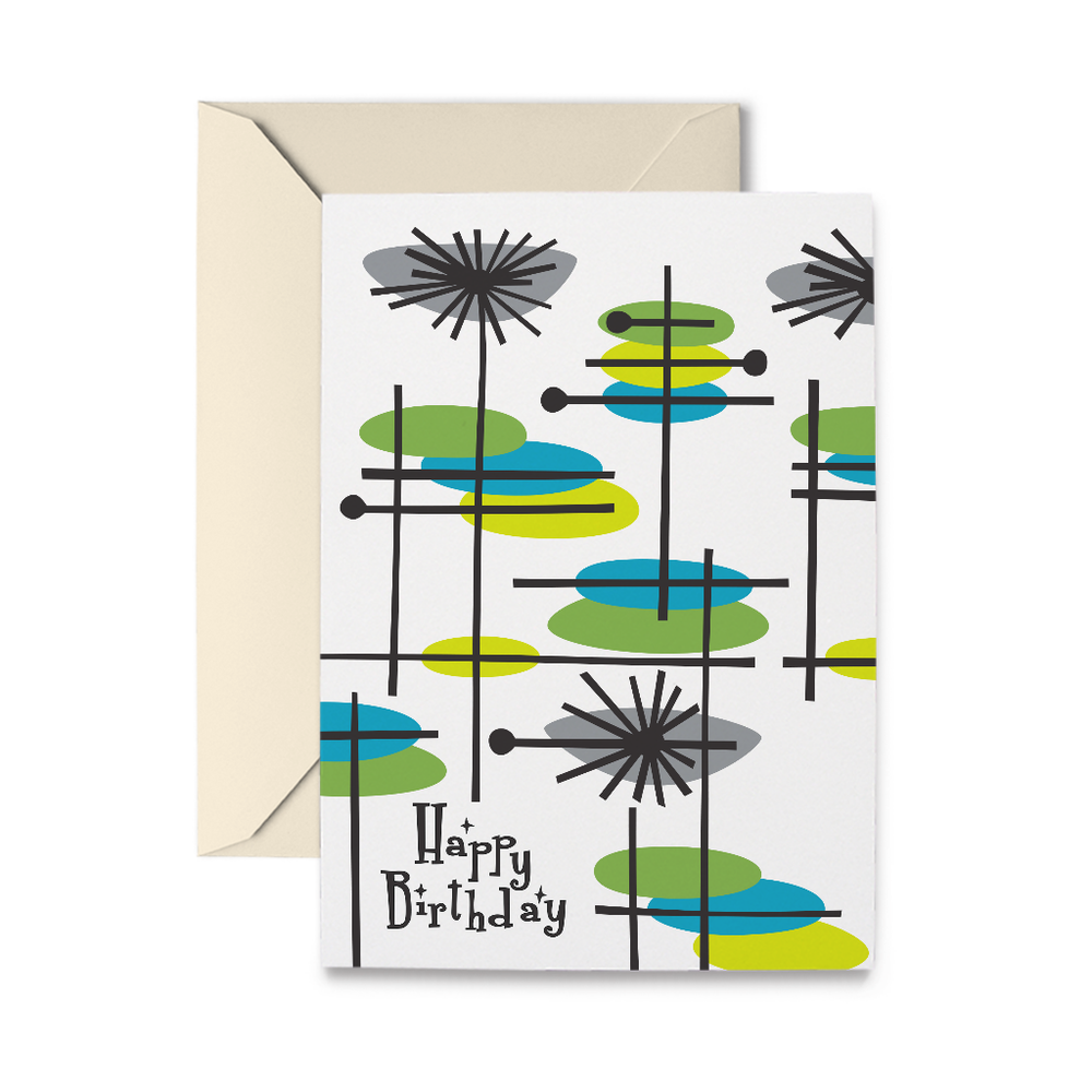 Mid-Century Birthday Greeting Card