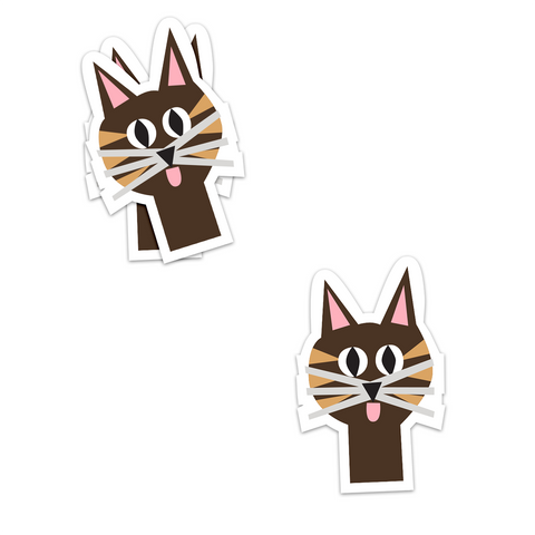 Peeking Tabby Sticker