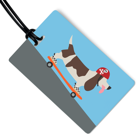 Skater Dog Luggage Tag