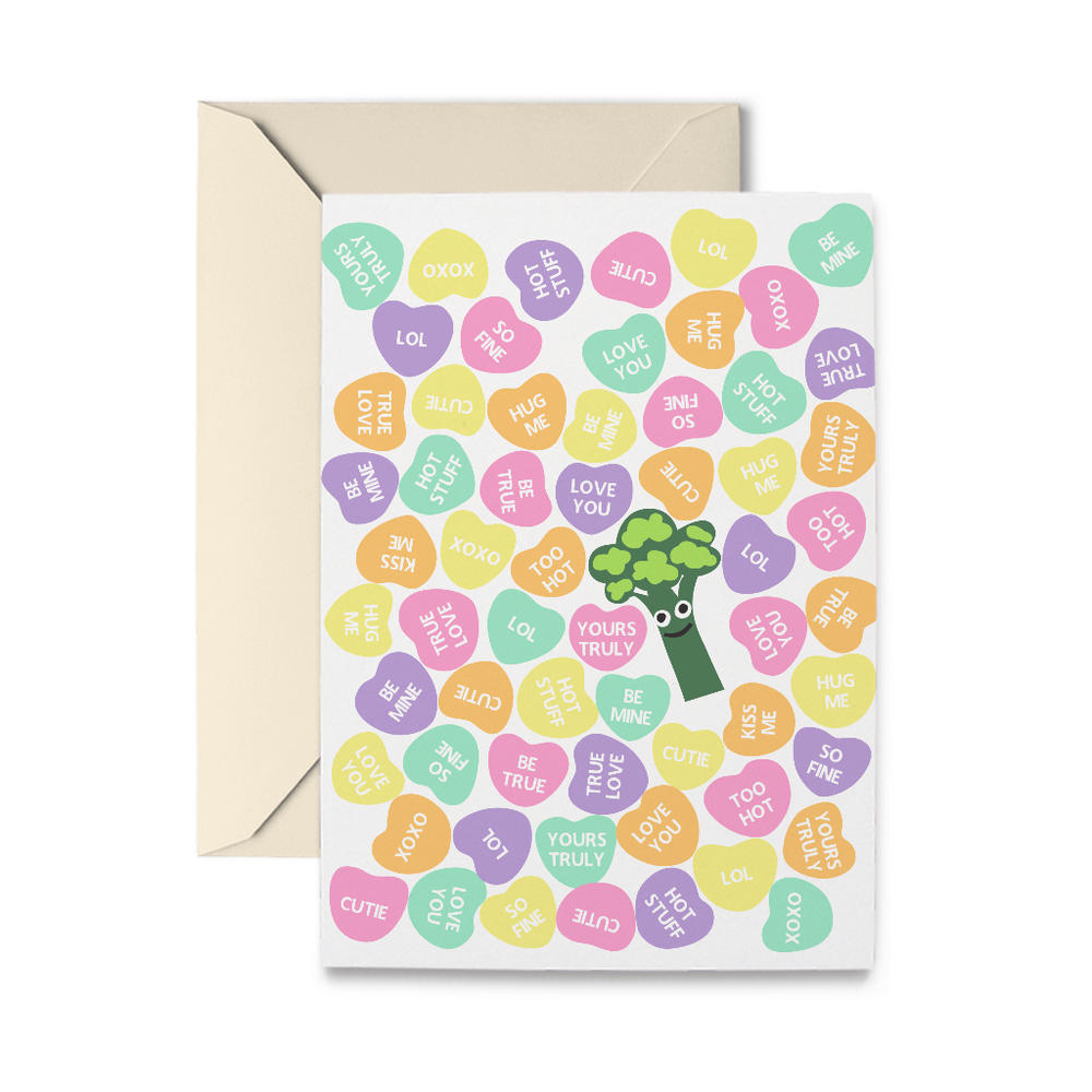 Valentine Broccoli Greeting Card