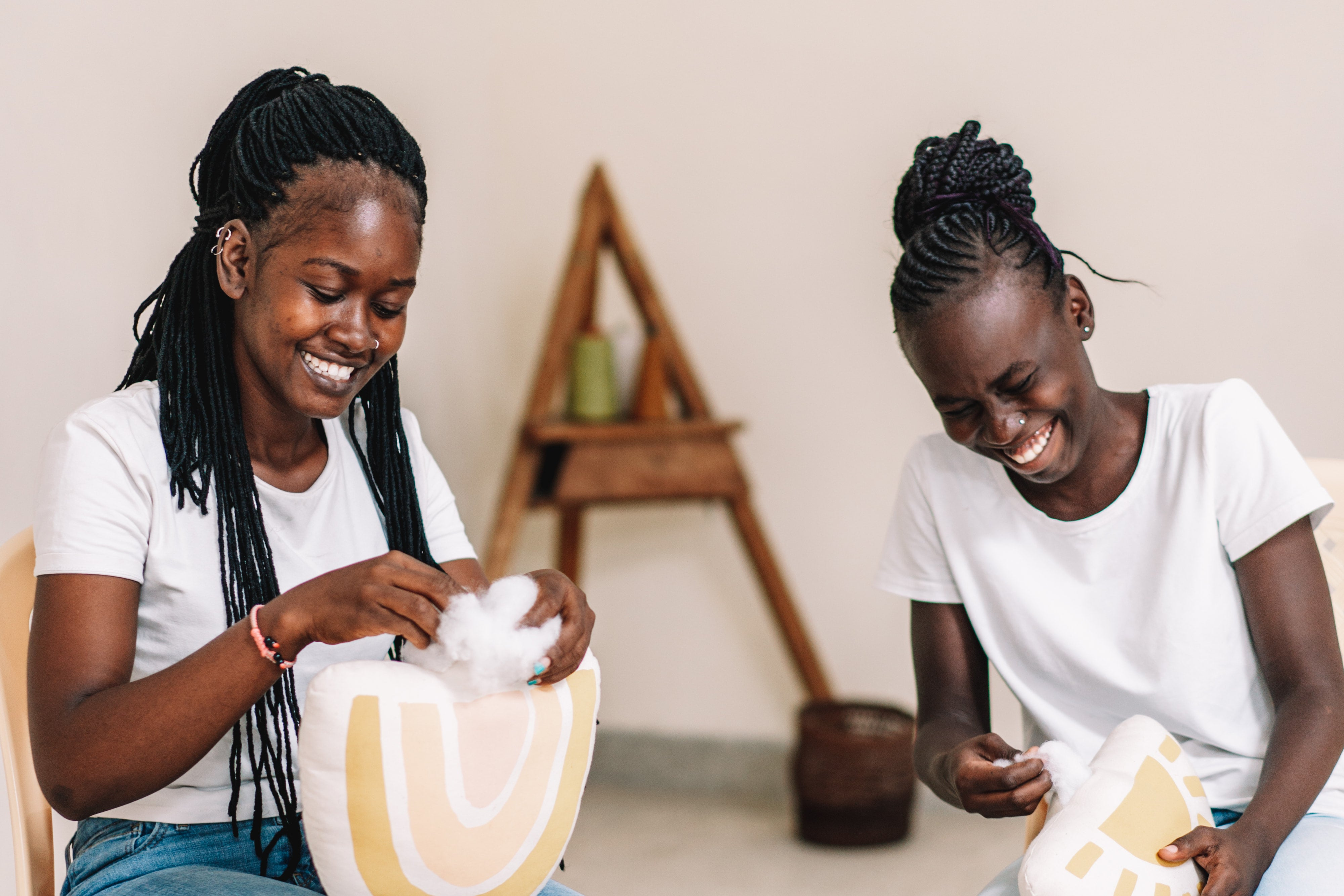 Girls working at the Imani collective