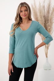 The Relaxed ¾ Sleeve V-neck T-shirt