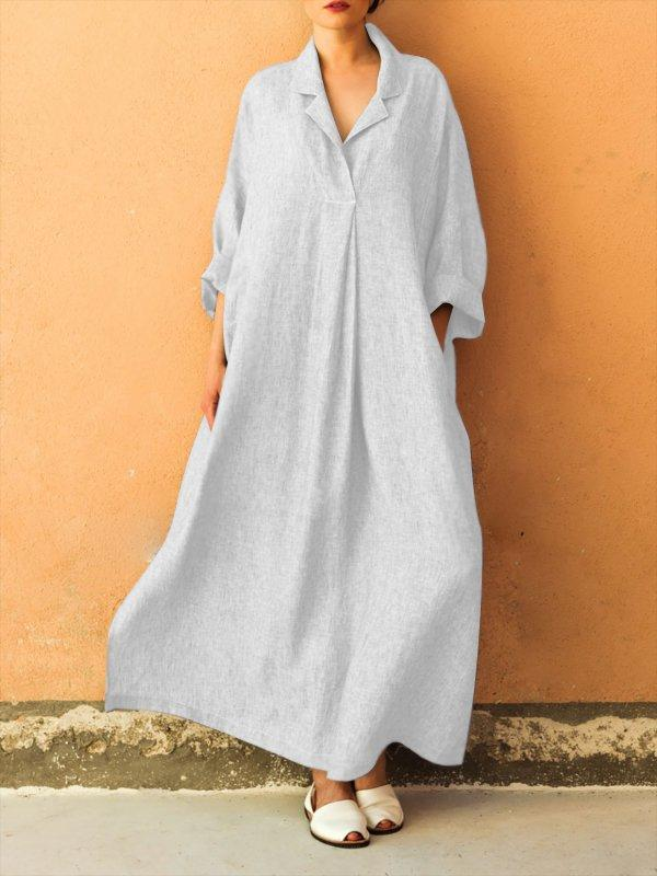 Cotton Shirt Collar Basic Long Sleeve A-line Maxi Dress