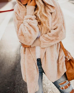 Fleeve Fuzzy Long Sleeve Sweet Pockets Cashmere Teddy Bear Coats