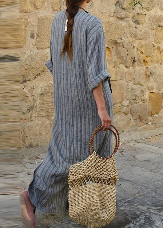 V neck Women Summer Dress Sheath Date Linen Paneled Dress - Manychic