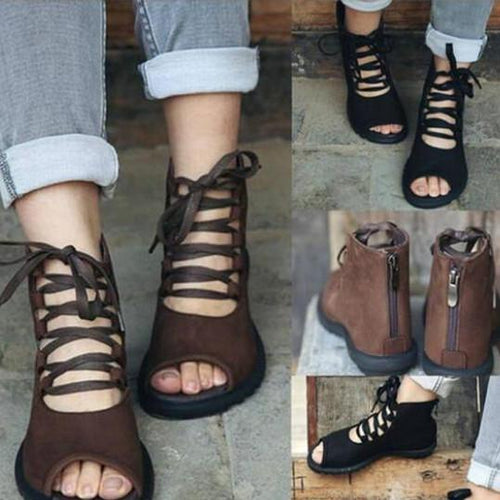 Plain Flat Criss Cross Peep Toe Outdoor Flat Sandals