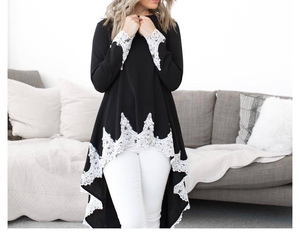 Casual Long Sleeve Shirt O-neck Irregular Hem  Lace Patchwork Dress