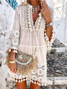Women Fall 3/4 Sleeve V Neck Holiday Boho Dresses