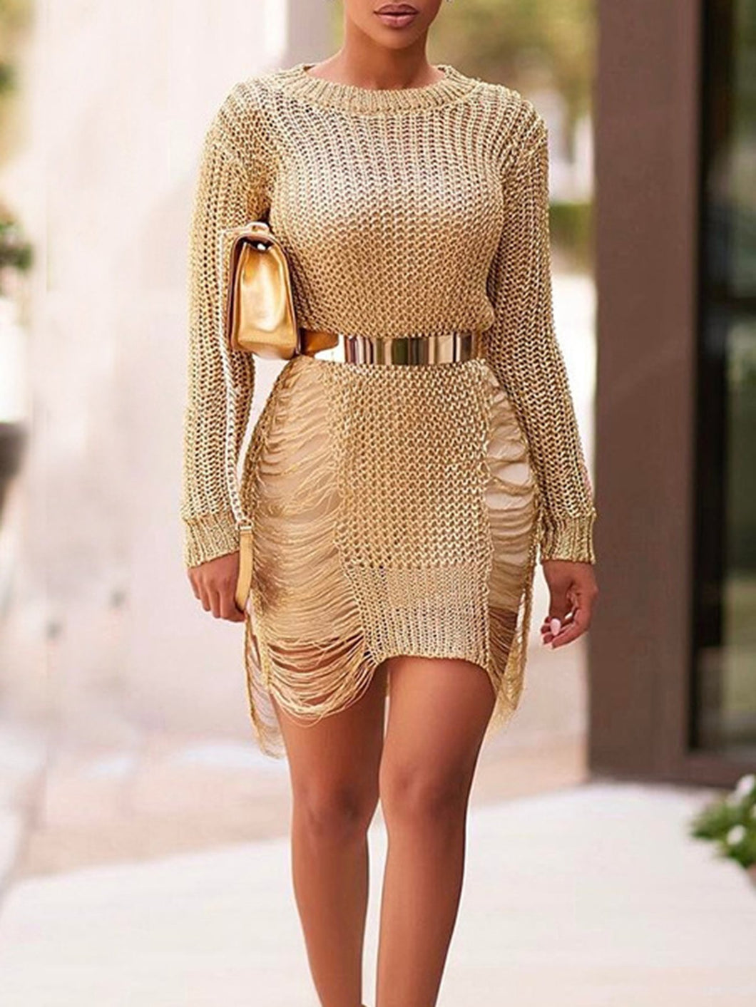 Women Solid Color Round Neck Hollow Sweater Dress