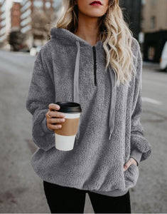 Women Winter Warm Plush Hooded Hoodies Plus Size Loose Casual Solid Color Jacket Pullovers