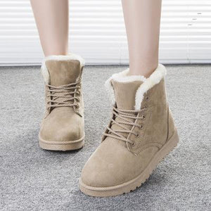Women Snow Warm Winter Boots Botas Lace Up Fur Ankle Boots