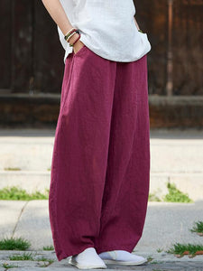 Navy Burgundy Cotton Casual Blue Ramie Linen Bloomers Pants - Manychic