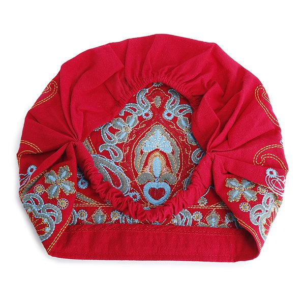 Women Embroidery Ethnic Cotton Beanie Hat Vintage Good Elastic Breathable Turban Caps For 4 Season - Manychic