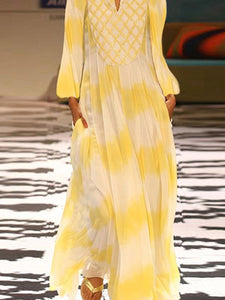 V Neck Long Lantern Sleeve Printed Elegant Maxi Dress