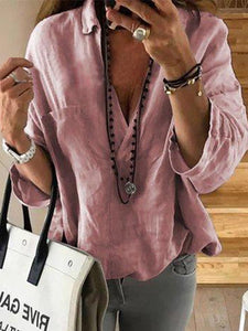 Casual Solid Color V-neck Blouse