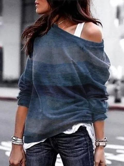 Vintage One Shoulder Long Sleeve Cotton T-Shirts - Manychic