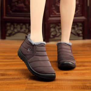 Women Unisex Warm Waterproof Fur Lining Slip On Snow Boots