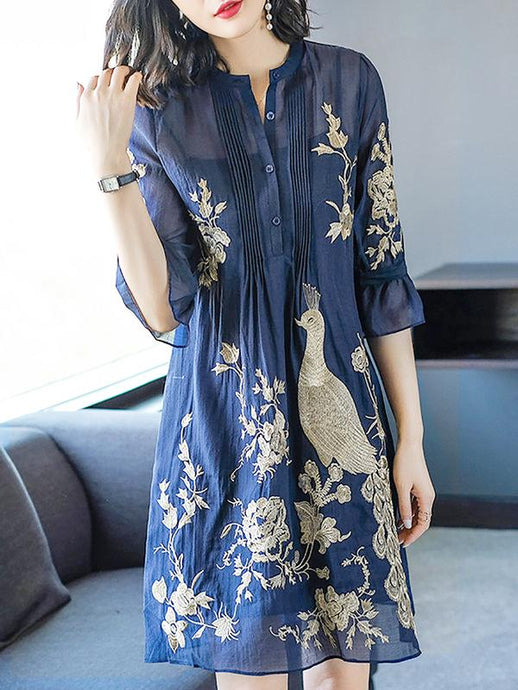 Dark Blue Bell Sleeve Chiffon Midi Dress
