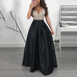Sexy V Collar Sleeveless Evening Maxi Dress