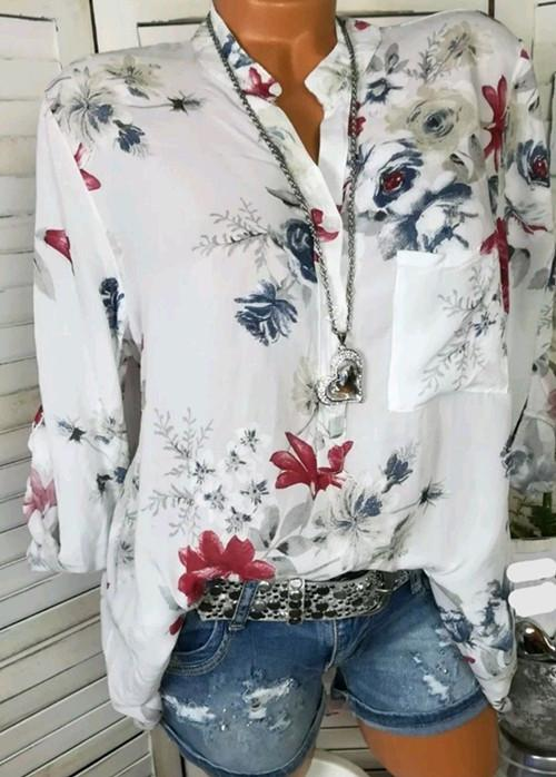 Autumn Fashionable White Basic Floral Blouses & Shirt - Manychic