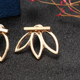 Alloy Double Side Earrings Leaf Flower Elegant Ear Stud Earring Fashoin Accessories - Manychic
