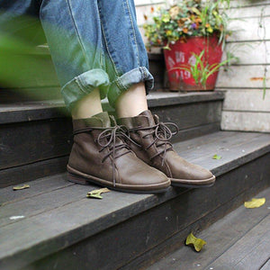 Vintage PU Leather Lace-up Boots