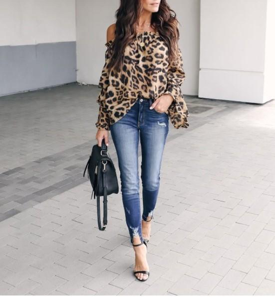 Sexy Leopard Printed Off-Shoulder Flare Long Sleeve Blouses