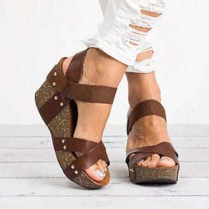 Women Plus Size Elastic Band Wedge Sandals Open Toe Sandals