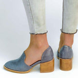 Women Spring Chunky Heel Casual Loafers Slip On Shoes