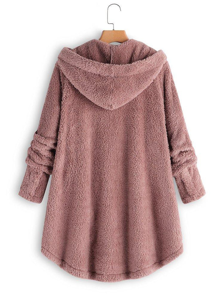 Cozy Long Sleeve Fleece Hooded Fuzzy Asymmetrical Hem Button Coat