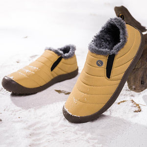 Womens Large Size Unisex Waterproof Fur Lining Slip On Snow Boots Shoes