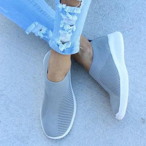 Breathable Jackeline Slip On Sneakers Fly-knit Fabric Athletic Sneakers - Manychic