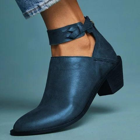 Women Plus Size Chunky Heel Booties Daily Zipper Boots - Manychic