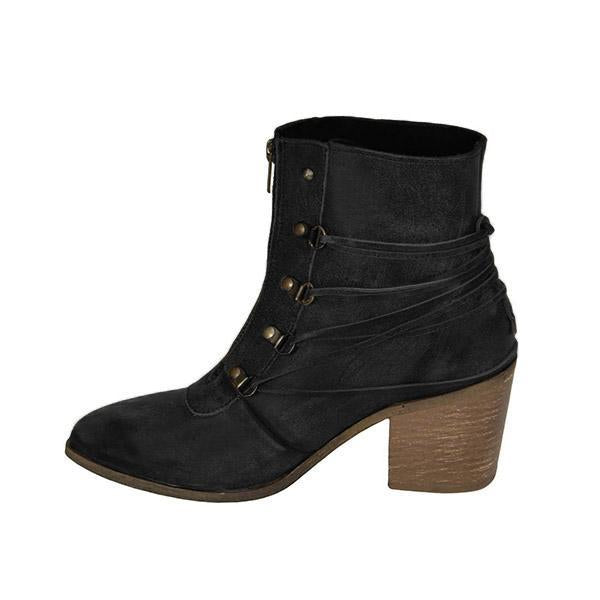 Casual Chunky Heel Front Zipper Boots Vintage Shoes