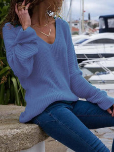 Solid Long Sleeve Knitted V Neck Sweaters - Manychic