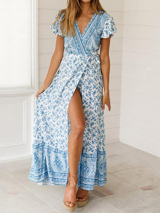 Printed V-neck Belted Split-side Maxi Dress